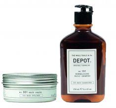 Depot 301 Matte Paste 75ml & 101 Normalizing Daily Shampoo 250ml