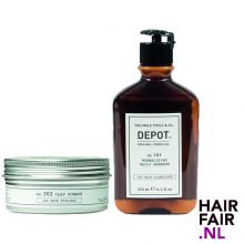 Depot 302 Clay Pomade 75ml & 101 Normalizing Daily Shampoo 250ml