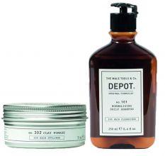 Depot 302 Clay Pomade 75ml & 101 Normalizing Daily Shampoo 250ml