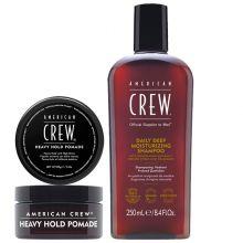 American Crew Heavy Hold Pomade 85gr & Daily Deep Moisturizing Shampoo 250ml