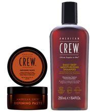 American Crew Defining Paste 85gr & Daily Deep Moisturizing Shampoo 250ml