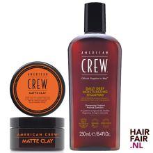 American Crew Matte Clay 85gr & Daily Deep Moisturizing Shampoo 250ml